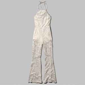 Pants - White lace bell bottom jumpsuit